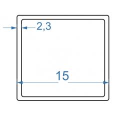 Труба алюмінієва квадратна 15x15x2,3 мм, АД35 (6082), без покриття