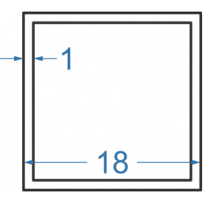 Труба алюмінієва квадратна 18x18x1 мм, АД31