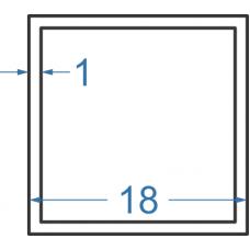 Труба алюмінієва квадратна 18x18x1 мм, АД31, без покриття
