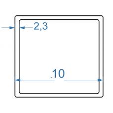 Труба алюмінієва квадратна 10x10x2,3 мм, АД35 (6082), без покриття