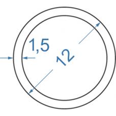 Труба алюмінієва кругла ø 12x1,5 мм
